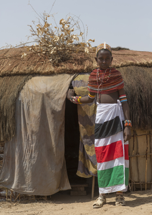 Rendille tribeswoman in front of her house, Marsabit district, Ngurunit, Kenya