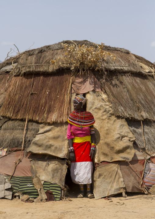 Rendille tribeswoman wearing traditional headdress and jewellery, Marsabit district, Ngurunit, Kenya