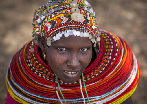 Rendille tribeswoman wearing traditional headdress and jewellery, Marsabit district, Ngurunit, Kenya