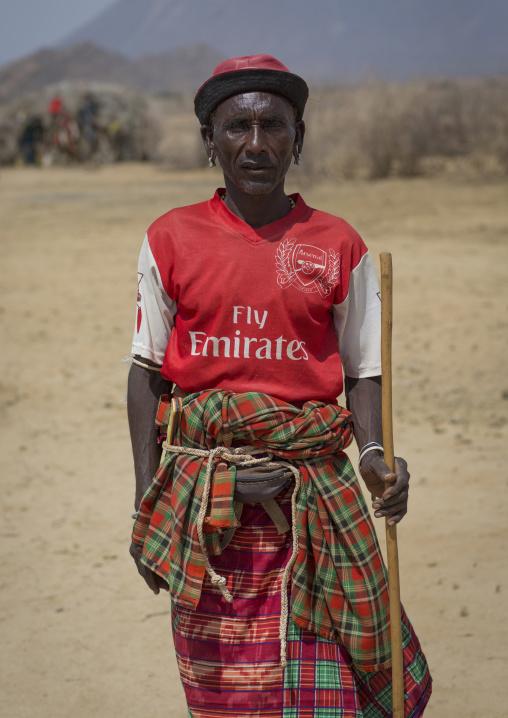 Rendille tribe old man with an arsenal football shirt, Marsabit district, Ngurunit, Kenya