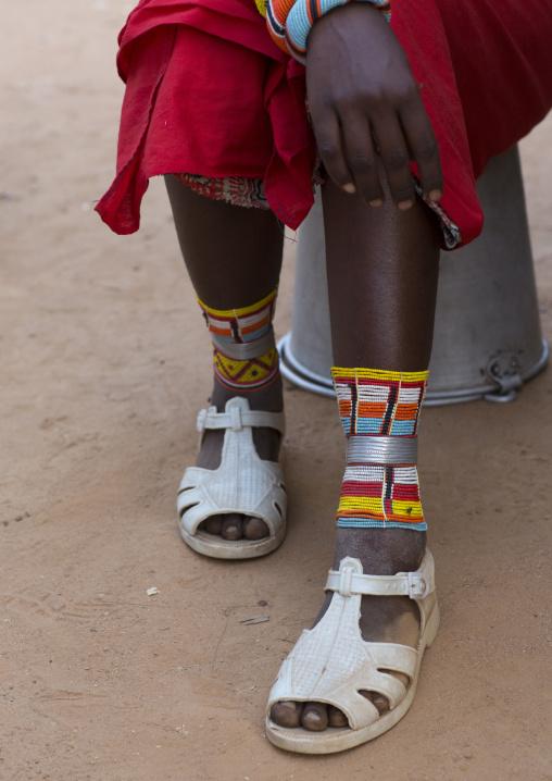 Rendille tribeswoman shoes, Marsabit district, Ngurunit, Kenya