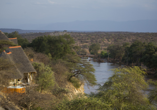 Part of the luxurious sasaab lodge on the banks of the uaso nyiru river, Samburu county, Samburu national reserve, Kenya