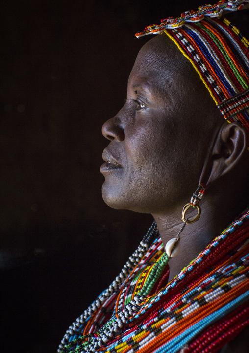 Samburu woman with traditional jewellry, Samburu county, Samburu national reserve, Kenya
