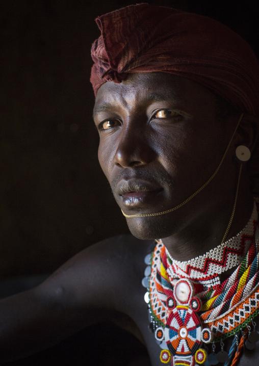 Portrait of a samburu tribesman morane, Samburu county, Samburu national reserve, Kenya