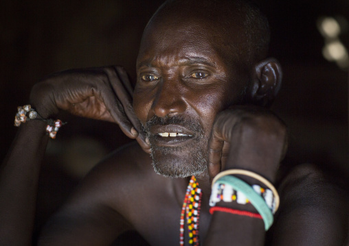 Portrait of a mature samburu tribesman, Samburu county, Samburu national reserve, Kenya