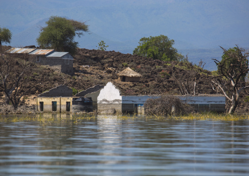 View of flooded house, Baringo county, Baringo, Kenya