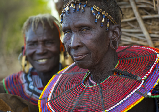 Pokot women wear large necklaces made from the stems of sedge grass, Baringo county, Baringo, Kenya