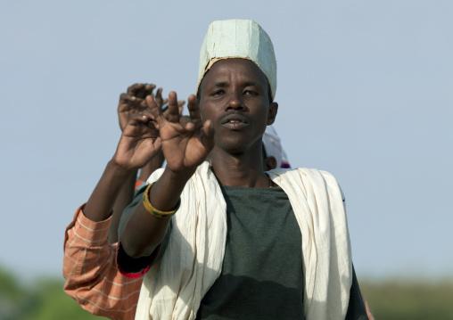 Gabra tribe man dancing, Marsabit County, Chalbi Desert, Kenya