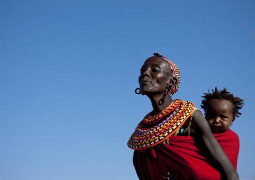 Portrait of a Samburu tribe woman with her child, Samburu County, Maralal, Kenya