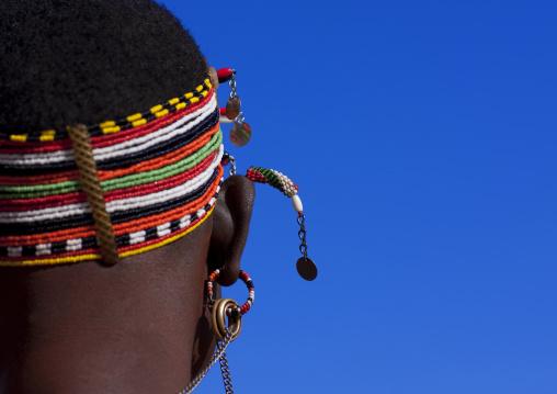 Samburu tribe woman with a beaded headwear, Samburu County, Maralal, Kenya