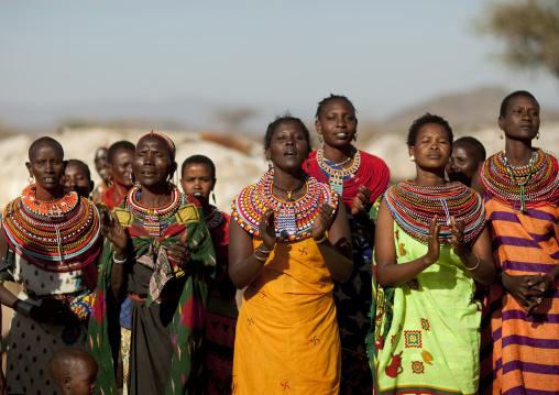 Samburu tribe women singing, Samburu County, Maralal, Kenya