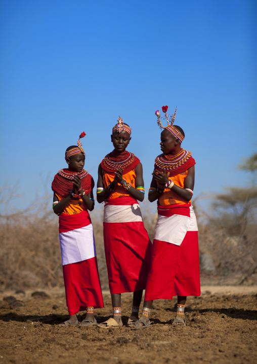 Samburu tribe teenagers with traditional jewellry, Samburu county, Samburu national reserve, Kenya