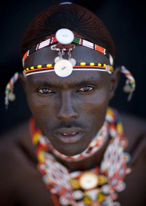 Portrait of a Samburu tribe moran, Samburu County, Maralal, Kenya