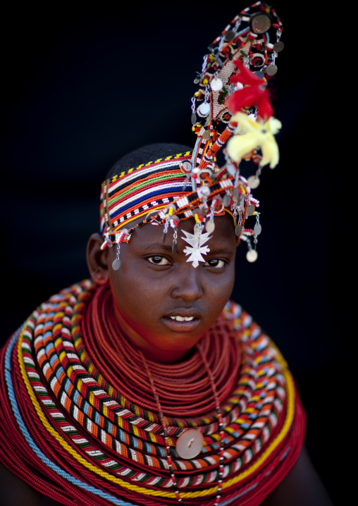 Portrait of a young Samburu tribe woman with beaded necklaces, Samburu County, Maralal, Kenya