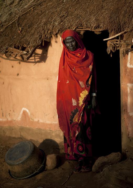 Portrait of a Borana tribe woman in front of her house, Marsabit County, Marsabit, Kenya