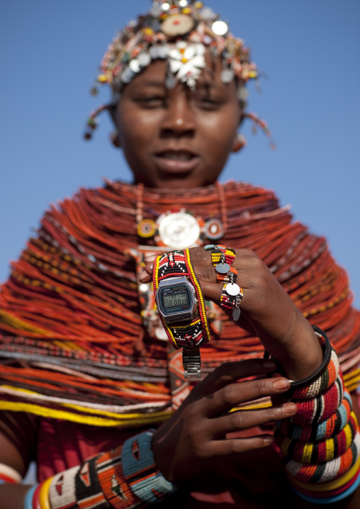 Rendille tribe girl and her watch, Kenya