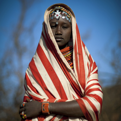 Portait of a young Rendille tribe woman with a scarf on the head, Marsabit County, Marsabit, Kenya