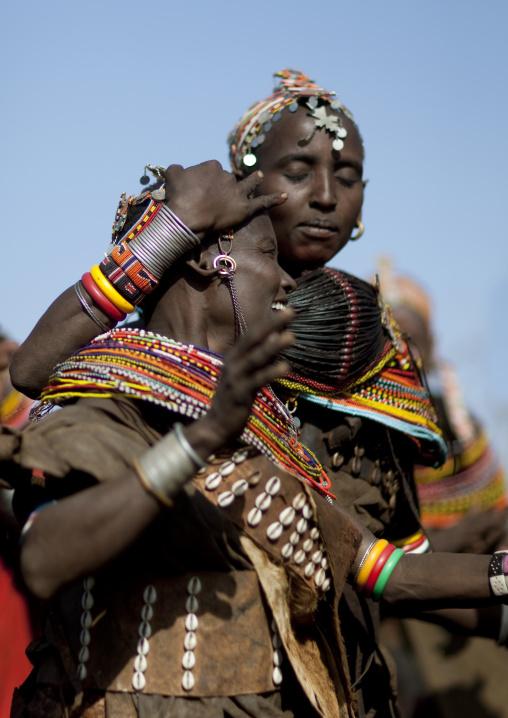 Rendille tribe women dancing during a ceremony, Marsabit County, Marsabit, Kenya