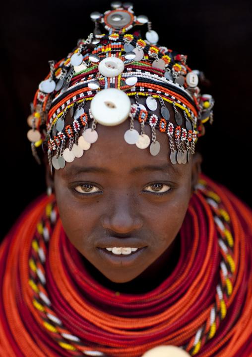 Portrait of a Rendille tribe young woman with a beaded headwear, Marsabit County, Marsabit, Kenya
