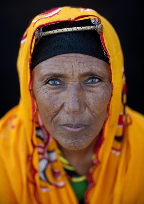 Portrait of a Gabra tribe woman wearing the traditional headwear, Marsabit County, Chalbi Desert, Kenya