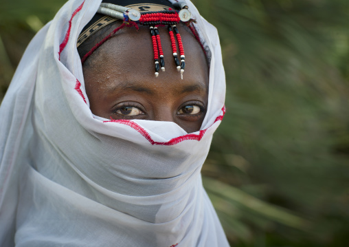 Gabbra tribe woman with traditional headgear, Chalbi desert, Kalacha, Kenya