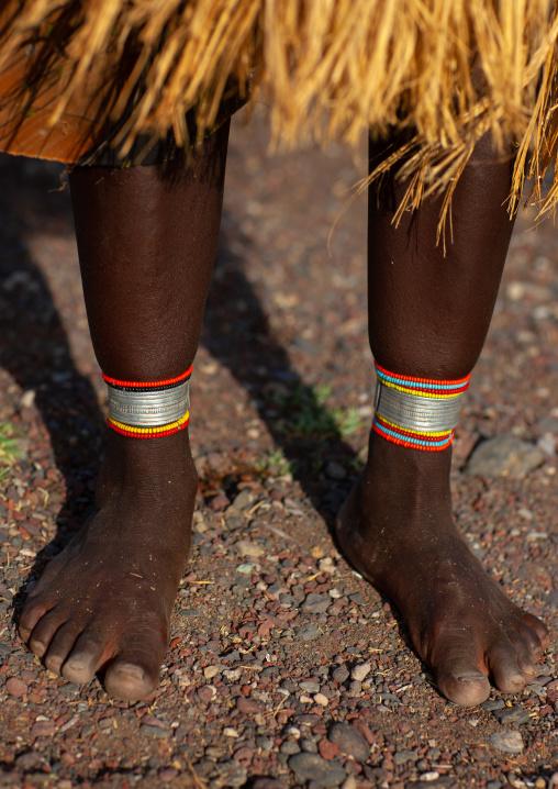 El Molo tribe woman feet and anklets, Rift Valley Province, Turkana lake, Kenya