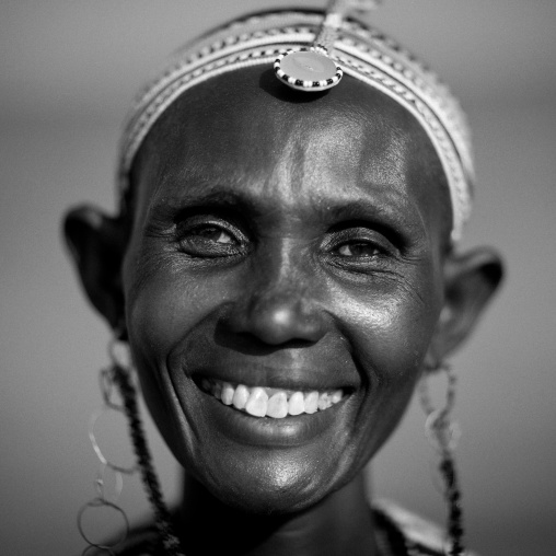 Portrait of an el molo tribeswoman, Turkana lake, Loiyangalani, Kenya