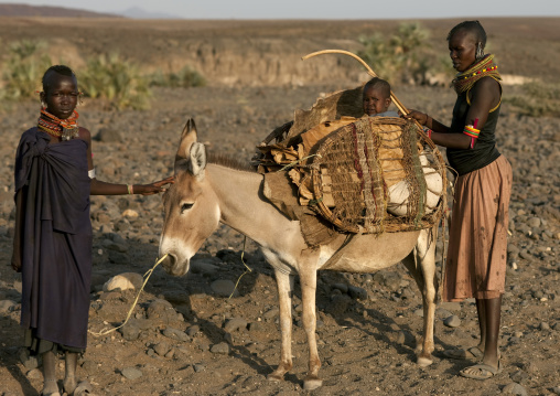 Turkana women with their donkey carrying a baby, Turkana lake, Loiyangalani, Kenya