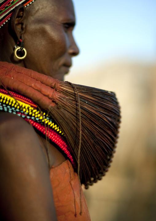 Rendille tribe woman wearing a mpooro Engorio necklace, Rift Valley Province, Turkana lake, Kenya