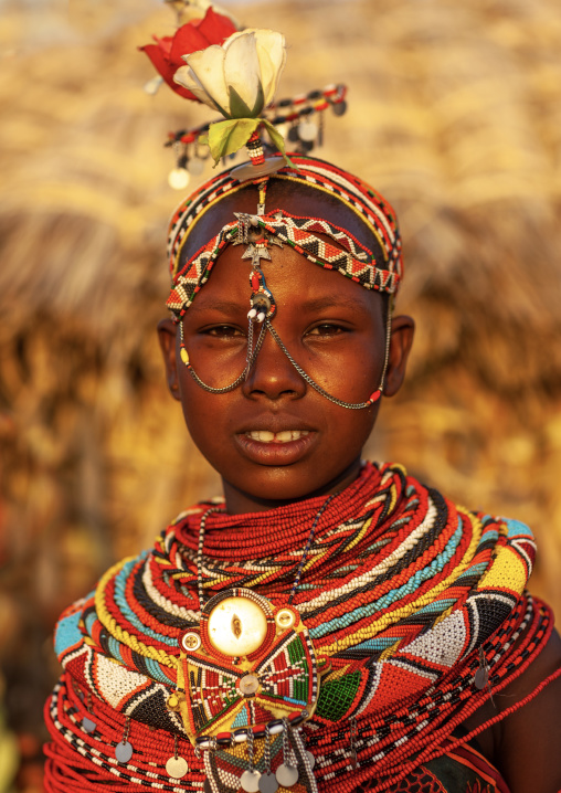 Portrait of a Rendille tribe woman with necklaces and headwear, Rift Valley Province, Turkana lake, Kenya
