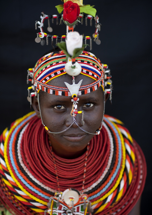 Portrait of a Rendille tribe woman, Rift Valley Province, Turkana lake, Kenya