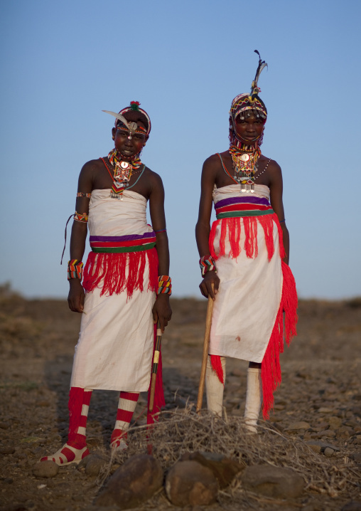 Portrait of Rendille tribe warriors, Rift Valley Province, Turkana lake, Kenya
