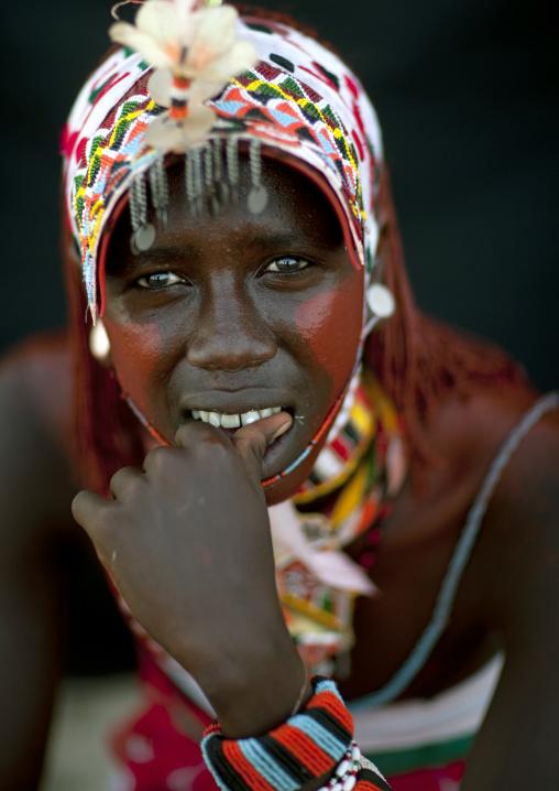 Portrait of a Rendille tribe moran with a headwear, Rift Valley Province, Turkana lake, Kenya
