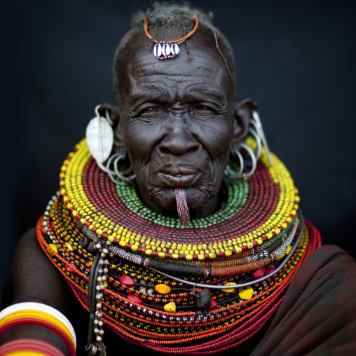Turkana tribe old woman, Kenya