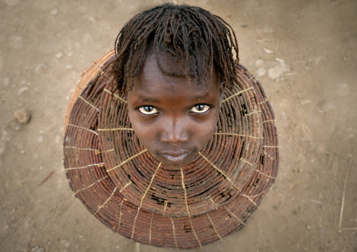 Portrait of a Pokot tribe girl wearing a huge necklace, Baringo County, Baringo, Kenya