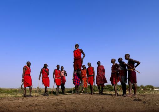 Maasai tribe men jumping during a ceremony, Rift Valley Province, Maasai Mara, Kenya