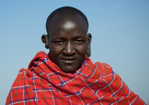 Portrait of a Maasai tribe man, Rift Valley Province, Maasai Mara, Kenya