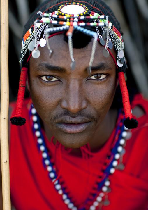 Portrait of a Maasai tribe man with a beaded headwear, Rift Valley Province, Maasai Mara, Kenya