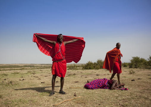 Maasai tribe men portrait wearing traditional clothing, Rift Valley Province, Maasai Mara, Kenya