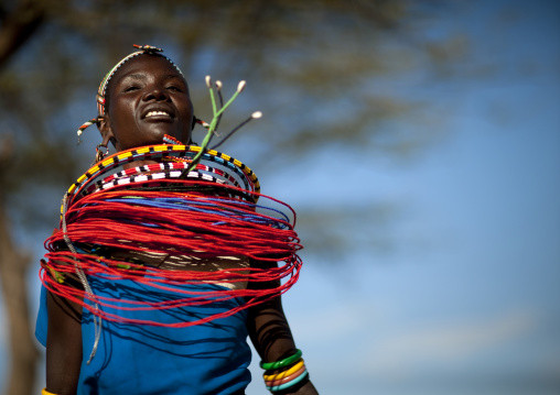 Samburu tribe woman with beaded necklaces dancing, Samburu County, Maralal, Kenya