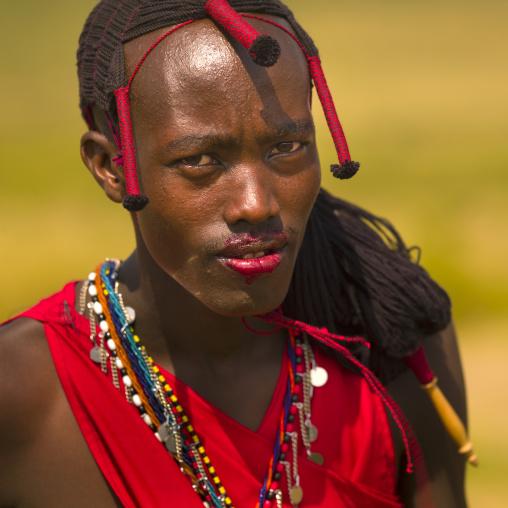 Masai warrior with blood on his lips, Nakuru county, Nakuru, Kenya