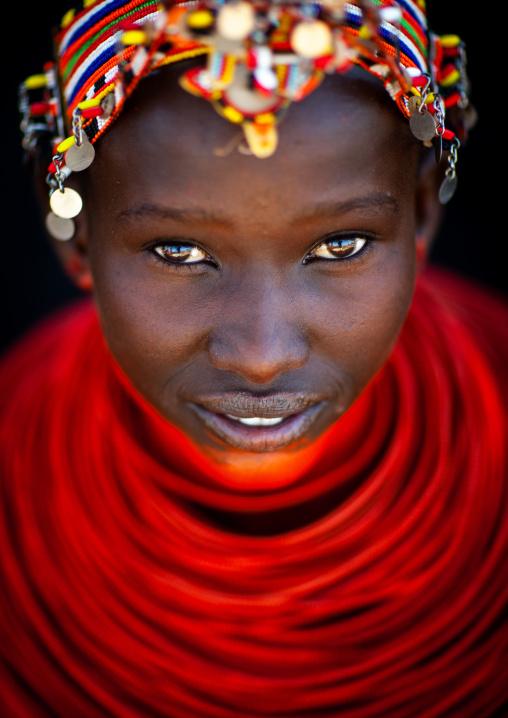 Portrait of a young Samburu tribe woman with beaded necklaces, Samburu County, Maralal, Kenya