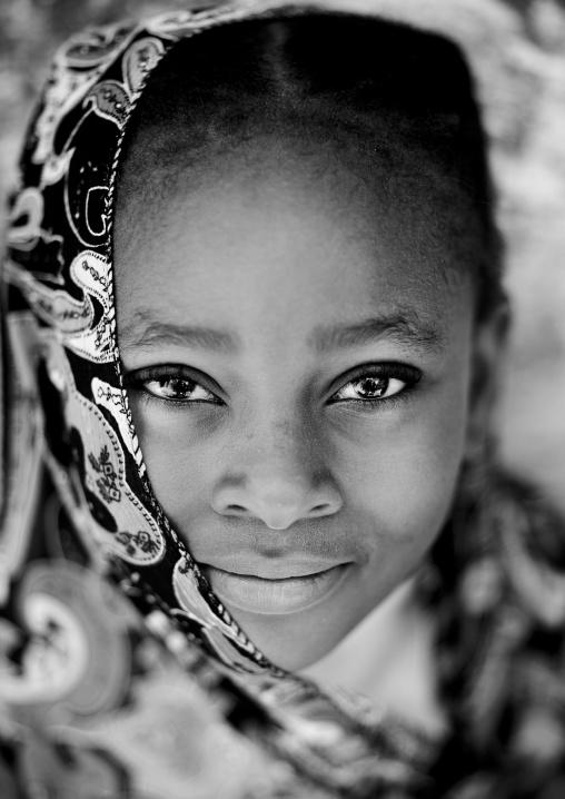 Portrait of a cute teenage girl with muslim veil in lamu, Kenya