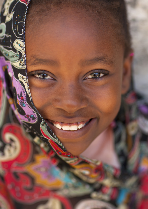 Portrait of a cute teenage girl with muslim veil in lamu, Kenya