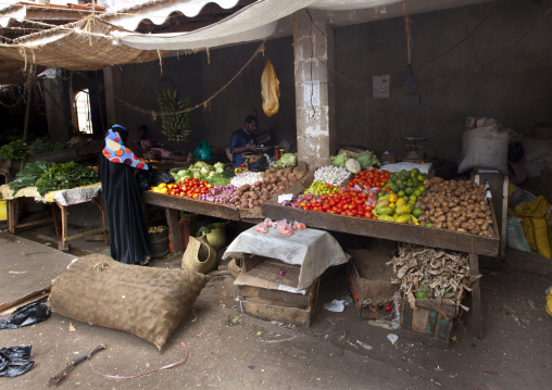 Fruits and vegetables stall in the marketplace of lamu, Kenya