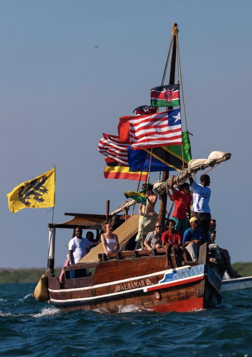 Tourist sailing on a dhow, Lamu County, Lamu, Kenya