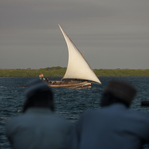 Dhow sailing in channel, Two senior men chatting in foreground, Lamu, Kenya