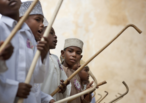Young boys standing in a row during goma stick dance, At maulidi festival, Lamu, Kenya