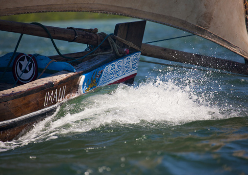 Prow of currently sailing dhow in lamu kenya