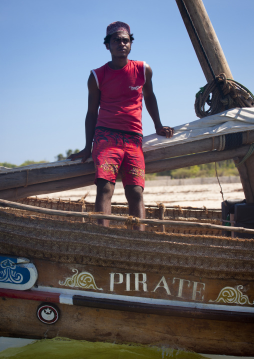 Man on pirate dhow maulidi, Lamu kenya